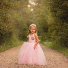 Free shipping New style halter pink tulle lace flower girl dresses for weddings First communion pageant dresses for girls