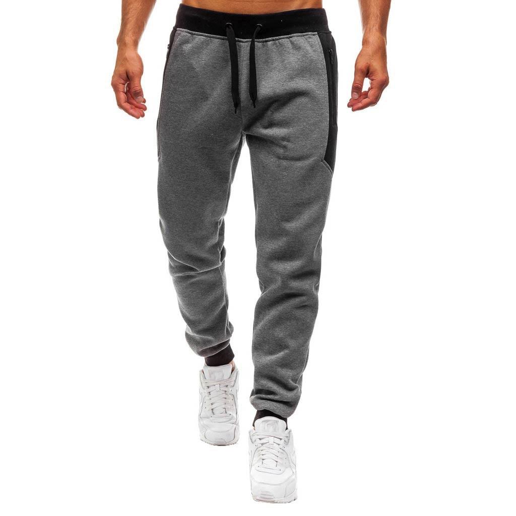men pants Men Splicing Printed Overalls Casual Elastic Waist Pocket Sport Work Casual Trouser Pants jogging pants men c0413