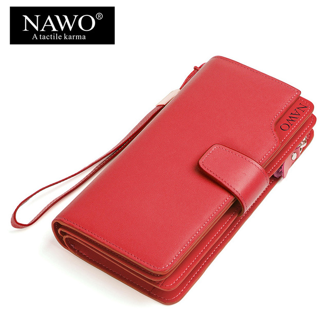 NAWO Real Genuine Leather Women Wallets Brand Designer High Quality 2017 Coin Card Holder Zipper Long Lady Wallet Purse Clutch