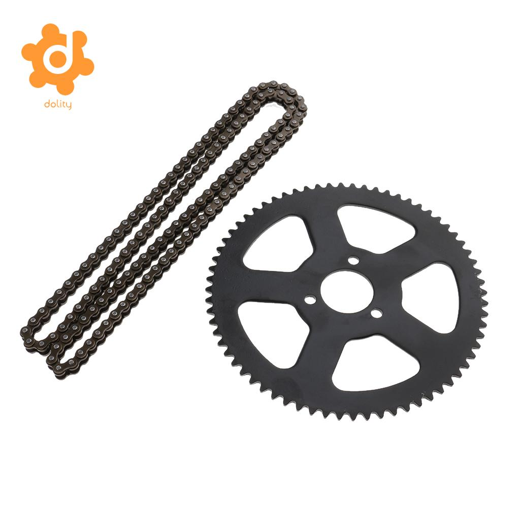 25H 68T 68 Tooth Rear Sprocket + 68 Links Chain for 49cc 2 Stroke Mini Pocket Bike