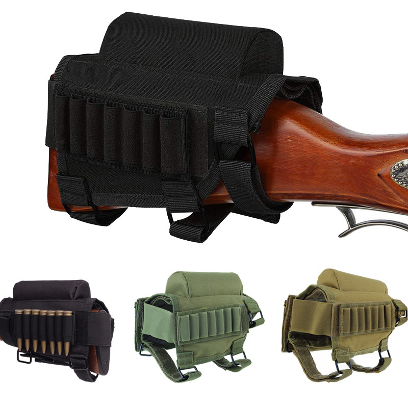 Enthusiastic Adjustable Rifle Tactical Buttstock Cheek Rest Shooting Pad Ammo Case Cartridges Holder Pouch For Hunting Accessories