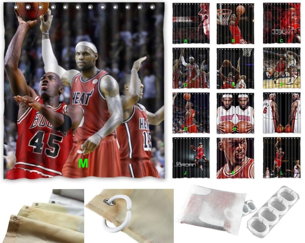 Shower Curtain Basketball 66 72 Diy Michael Jordan LeBron Raymone James In Curtains From Home Garden On Aliexpress