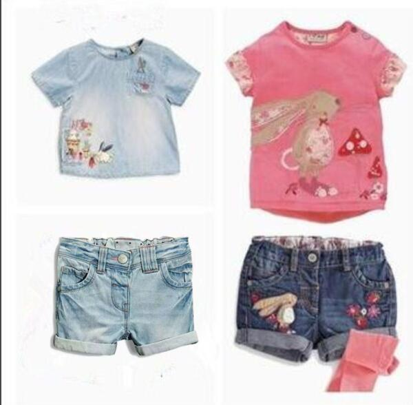 Retail 2016 new next girls clothes Summer cartoon rabbit T-shirt + bird strawberry denim shorts kids