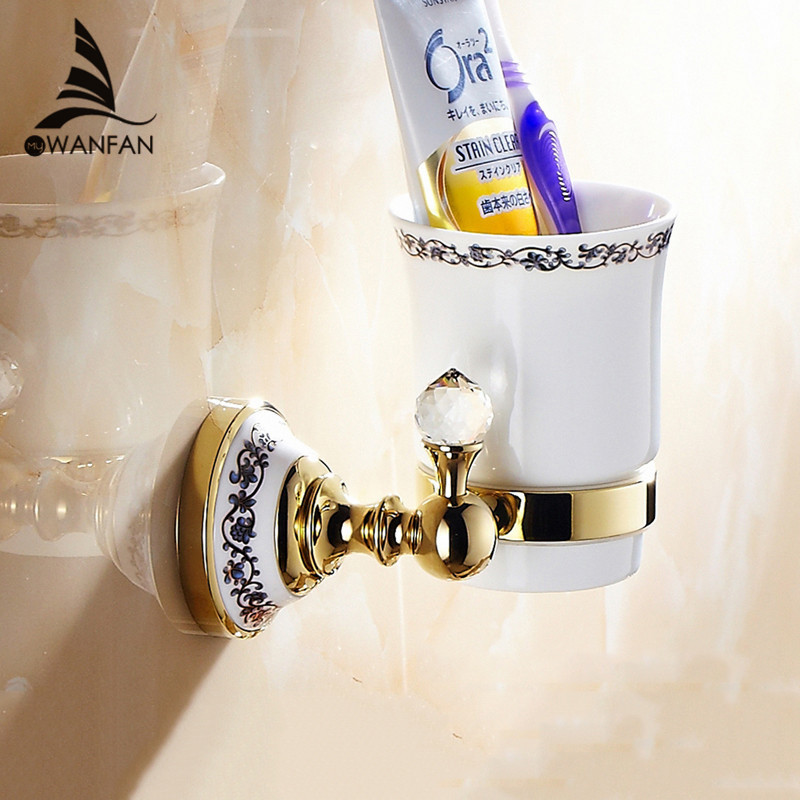 Cup & Tumbler Contemporary Holders Crystal Golden Brass Toothbrush Holder Ceramics Bathroom Accessories Wall Cup Holder 6307 yanjun double crystal cup tumbler holder brass wall mounted toothbrush cup holder bathroom accessories cup holder yj 8065 page 10