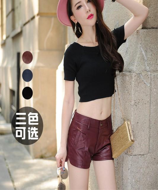Primavera verão 2016 Nova Frete grátis Coreano magro moda feminina calcinhas de couro Personalidade Médio cintura shorts para mulheres