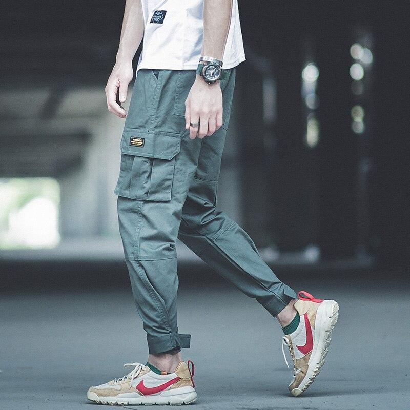 2018 New Fashion High Street Mens Jeans Jogger Pants Big Pocket Cargo Pants Ankle Length Loose Fit Punk Pants Hip Hop Jeans Men