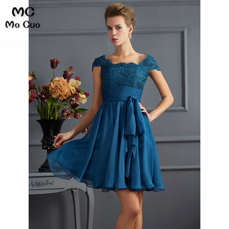 Elegant 2019 Navy blue   Bridesmaid     Dresses   Short Sleeves Chiffon Wedding Party   Dress     Bridesmaid     Dress   with Lace Custom Made