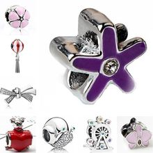 Luxurious Small Cute Horse Stars Flowers Snails Ferris Wheel Crystal Charms Beads Fit Pandora Bracelets Necklaces Women DIY Gift(China)