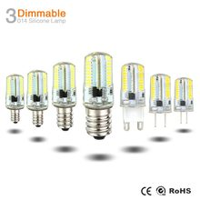 Mini G9 LED Silicone Bulb Lamp AC 220V 110V G4 G8 E11 E12 E14 E17 SMD3014 64LEDs Dimmable Chandelier Replace Halogen Lights()