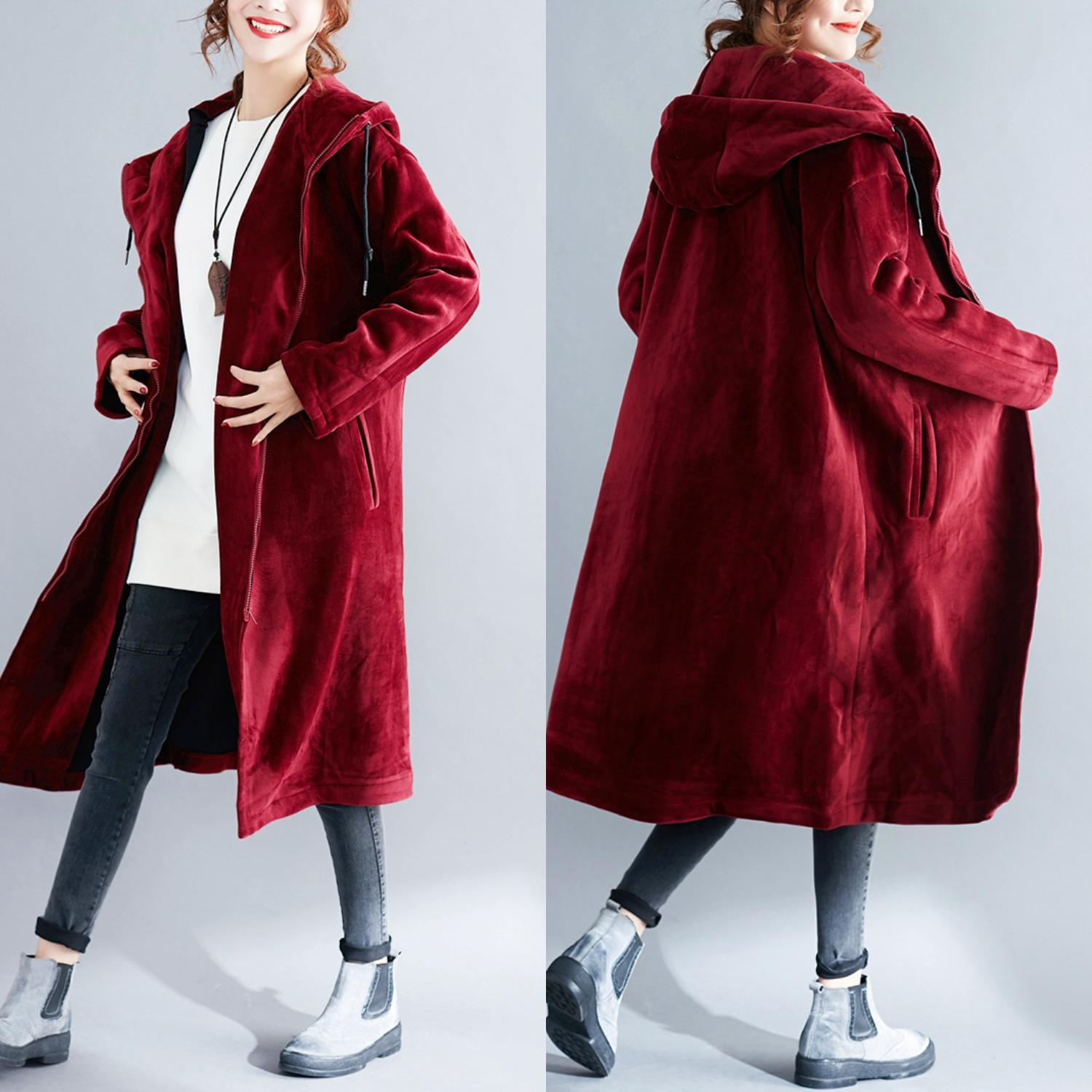 women hooded   trench   velvet warm big yards long sleeve new long loose big size clothes pocket thick fabric free size fleece top