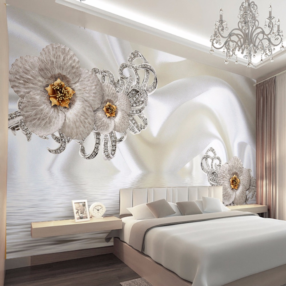 Custom Mural Wallpaper Modern Silk Cloth Diamond Large ...