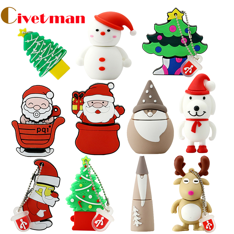 USB Flash Drive 128 GB Cartoon Christmas Gift USB Flash Drive 4 GB 8 GB 16 GB 32 GB 64 GB Elk Deer USB Flash Memory Stick Pen Drive