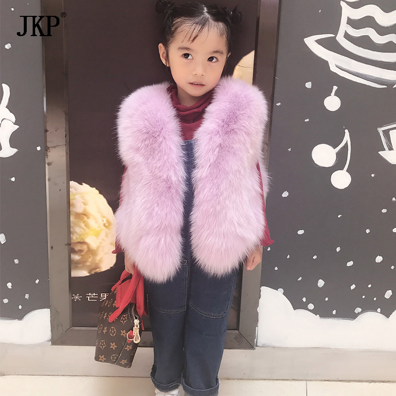 Fashion New 2017 Kids Real Fox Fur Vest Autumn Winter Baby Girl Coat natural Fox Fur Vests Children's Outerwear new winter baby hat real fur pom pom knitted toddler kid thick warm double raccoon fur balls beanies boys girls bonnet gorros f3