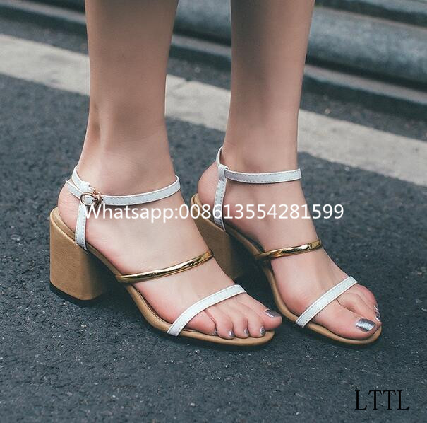 Newly Fashion Sample Style Strap Buckle Med Thick Spike Heels Gladiator Sandals Shoes Women Summer Mixed Color Open Toe Sandals