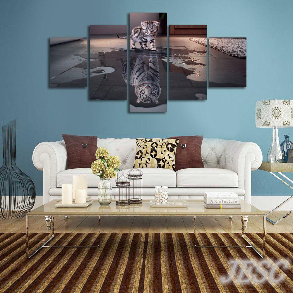 5 Panel Kunst Bilder HD Gedruckte Plakate Tiger Katze Wand ...