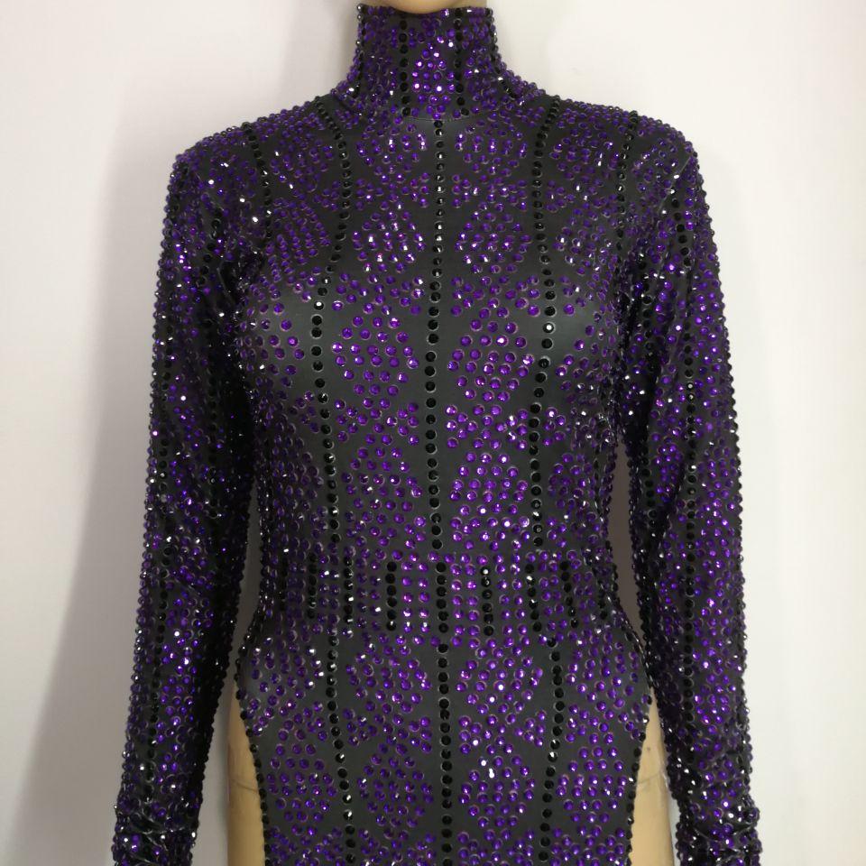 Rhinestone lleno vestido negro púrpura una pieza Vestidos Mujer ...