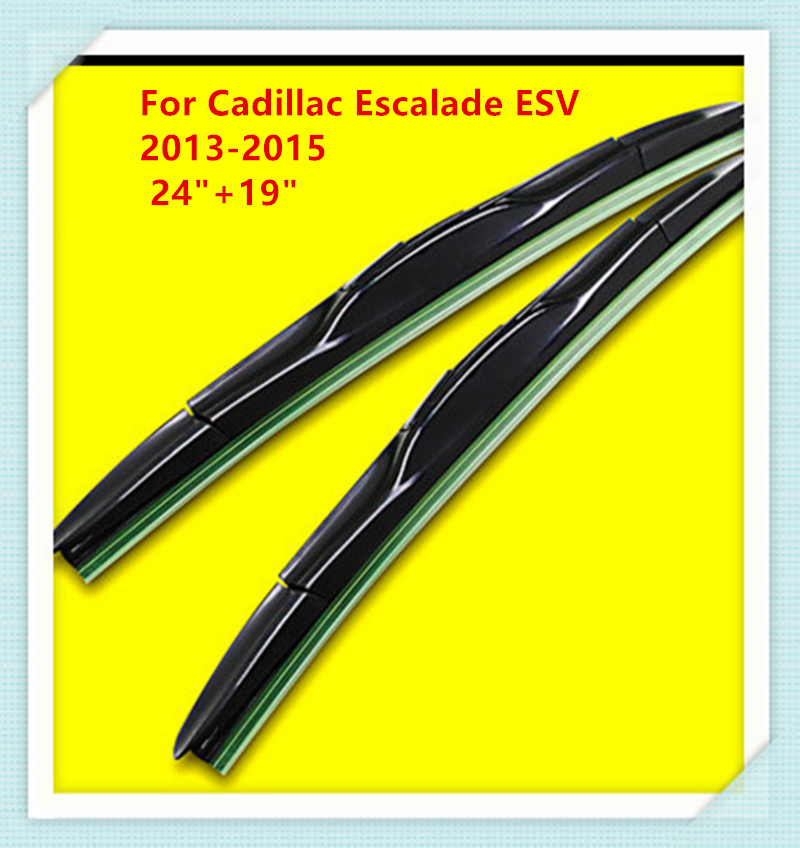 3 Section Rubber Windscreen Wipers For Cadillac Escalade ESV 2013 2014 2015 24+19