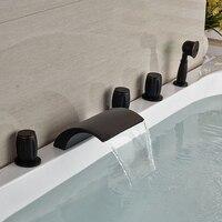 Оптом и в розницу Водопад масло втирают Бронзовый Водопад Носик Ванная комната ванной кран 5 шт. бортике опрыскиватель ручной душ