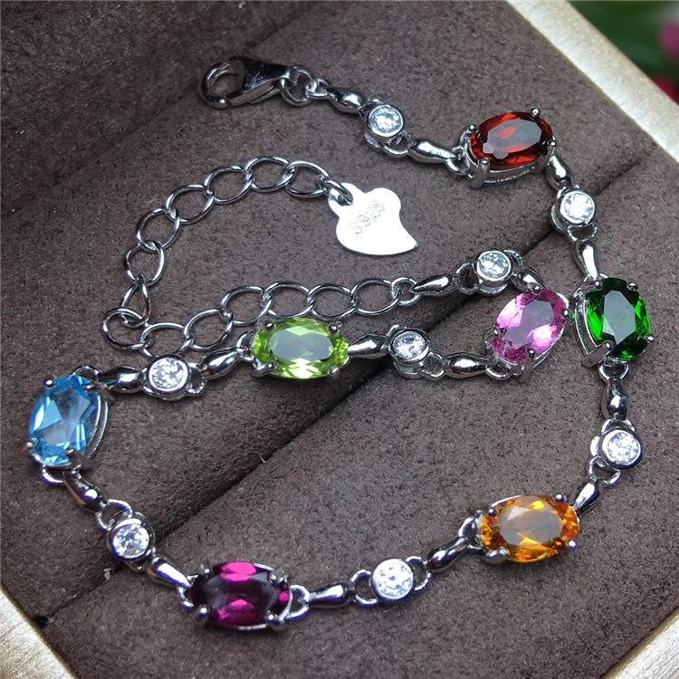 KJJEAXCMY fine jewelry S925 silver inlay natural color gemstone garnet multi-color bracelet crystal jewelry
