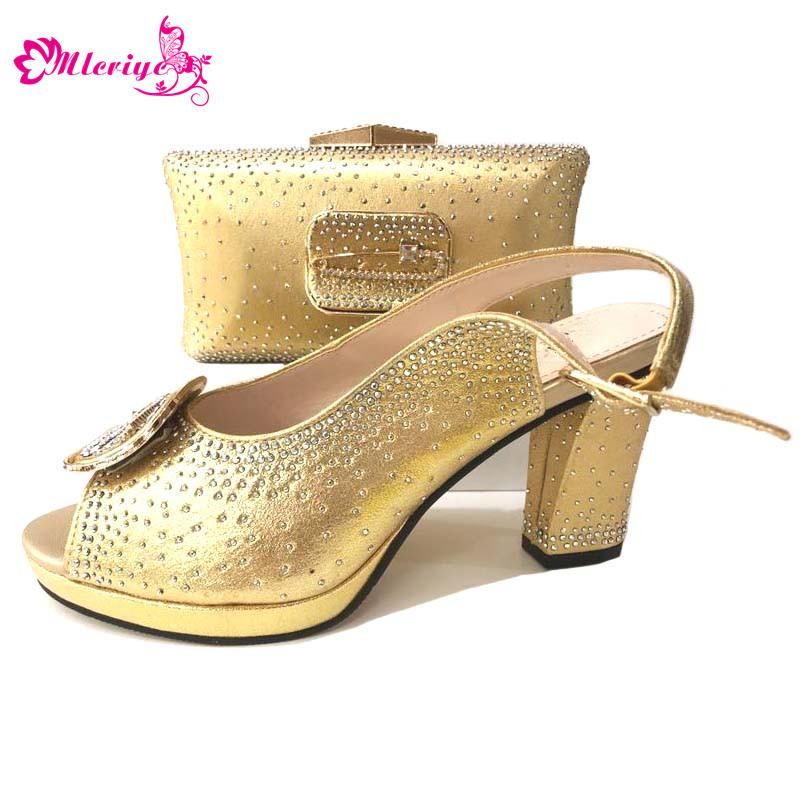 African golden Shoe and Bag Set Italian Shoe with Matching Bag Shoes and Bag Set Ladies Matching Shoe and Bag Italy For wedding hot glitter italy matching shoe and bag set with shinning stones with free shipping for party in sl08 size 39 43 red