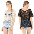 Mulheres novo Ocasional do Verão Chiffon Renda Básica Blusa Top Shirt Oco out Praia férias OL Manga Curta Plus Size