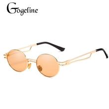 344de1bf4c 2019 pequeño redondo Steampunk gafas de sol de las mujeres de los hombres  de moda de Metal gafas de marca diseño Retro marco Vin.
