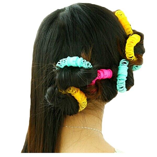 Top Sale Buytra Hairdresser Magic Bendy Hair Styling Roller Curler Spiral Curls DIY Tool:Pink Yellow Cyan Random