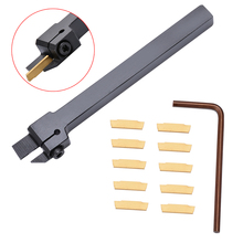 10pcs MGMN200 Carbide Inserts Golden Blades + 1pc MGEHR1010 2 Turning Tool Holder Boring Bar with Wrench