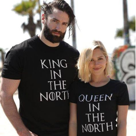 dbfd51a4c985 Game of Thrones King Queen in the North T Shirts Valentine Men Women Couple  Clothes Lovers