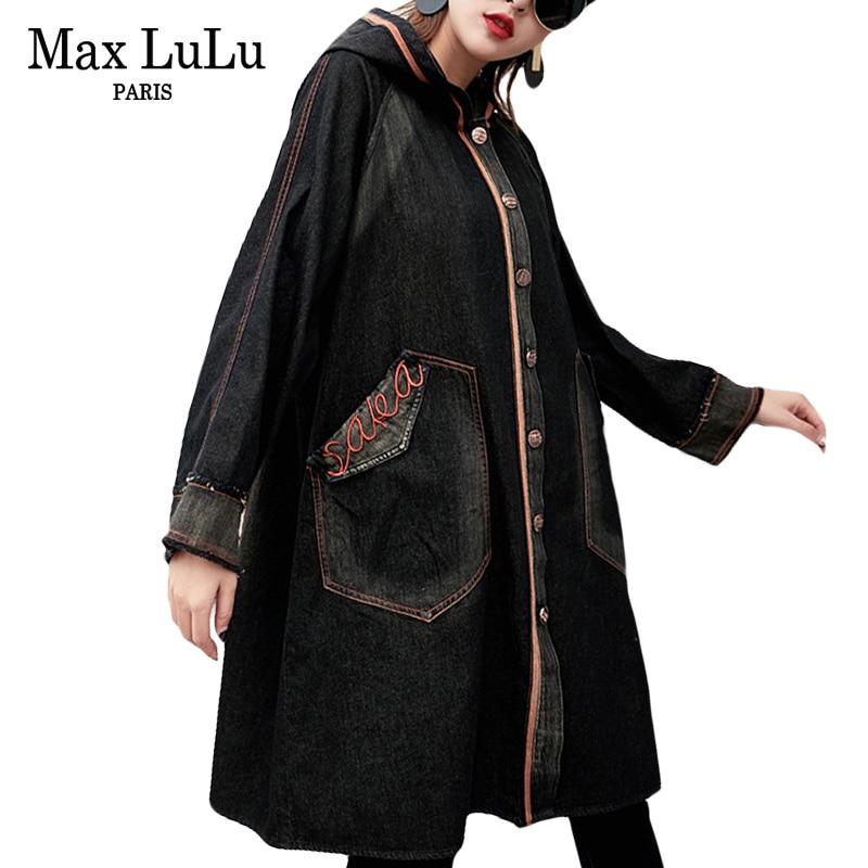 Max LuLu Fashion Spring Embroidery Girls Denim Streetwear Women Hooded Trench Coat Vintage Jean Outerwear Woman
