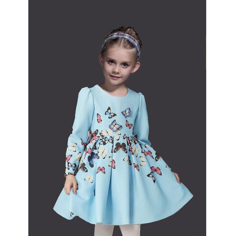 New Fall Winter Girls Dresses Cotton Long Sleeve Vestido Menina Butterfly Girls Princess Dress Fashion Printing Party Dresses messic cotton long sleeve winter dresses