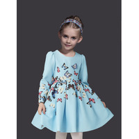 New Fall Winter Girls Dresses Cotton Long Sleeve Vestido Menina Butterfly Girls Princess Dress Fashion Printing