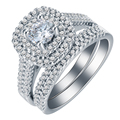 Hot sale Classic Big Square Crystal Ring set White Gold Plated AAA zircon crystal fashion rings for women Fashion Jewelry