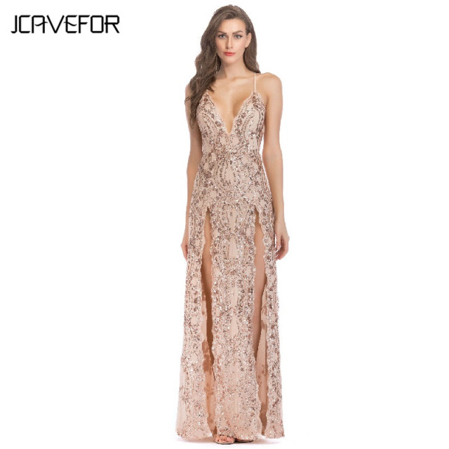 Sequin Strap Dress 2018 Summer Women Sexy Deep V Neck Sparkle Shimmer Spaghetti Sequin Strap  Dress Backless Party Club Wear Split Long Dress
