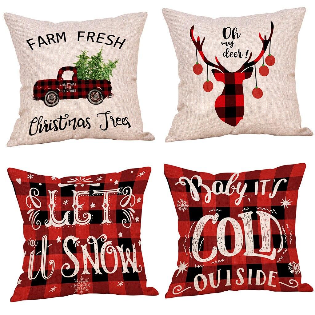 Cotton Linen Cushion Cover Set Of 4 Home Decor Cushion Cover Christmas Winter Style Throw Pillowcase Pillow Covers 2O81130
