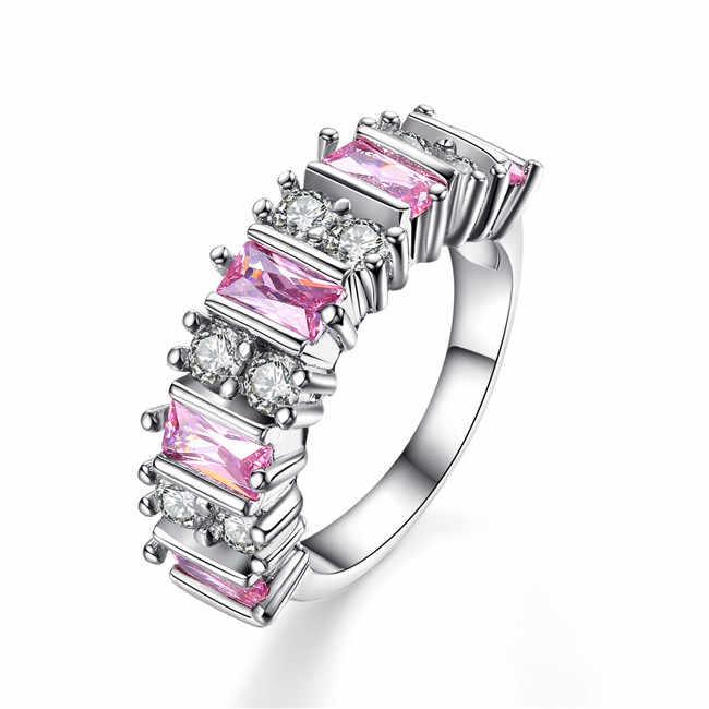 ZR005 роскошное серебряное кольцо на палец с цирконом Размер 7 #8 #9 # женские модные украшения Рождественский подарок высокое качество