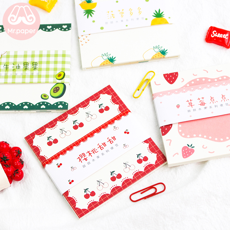 Mr Paper 30pcs/lot 8 Designs Sweet Fruit Cherry Strawberry Pineapple Bowknot Flower Memo Pads Loose Leaf Writing Point Memo Pads