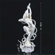 Chino Dehua Porcelana Blanca Apsaras Hadas rebote Pi pa mujer hermosa Estatua