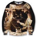 Brand Clothing Мода Мужчины Женщины Богатые Деньги Black Cat 3D Печатных Толстовка Bardian С Длинными Рукавами С Капюшоном Случайные Спортивный Костюм