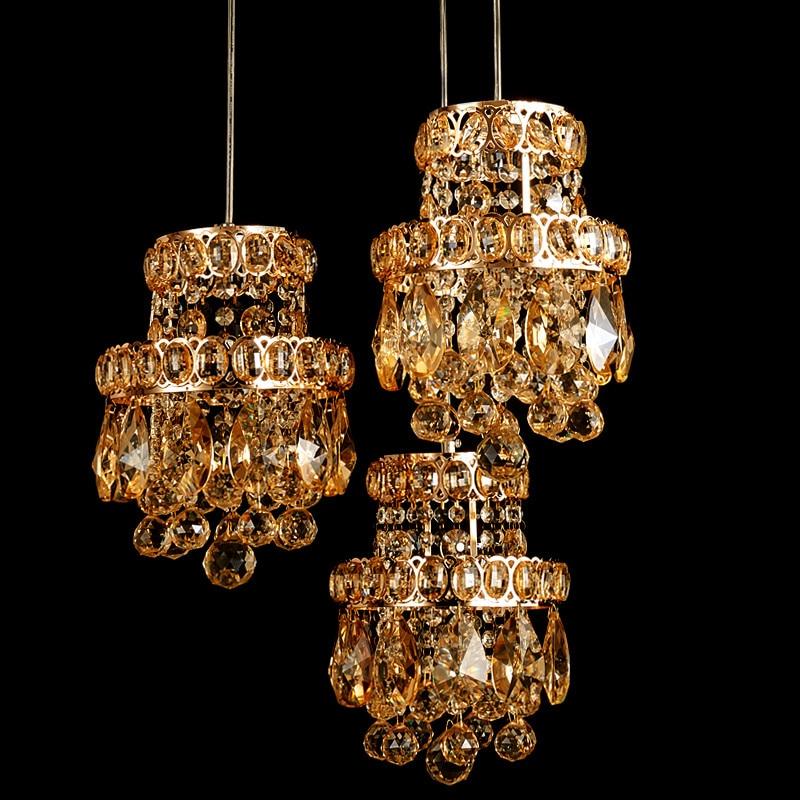 Restaurant K9 Crystal Light Rectangle 3 Lights Amber Crystal Pendant Light LED Living Room Dining Room Modern Fashion Lustre
