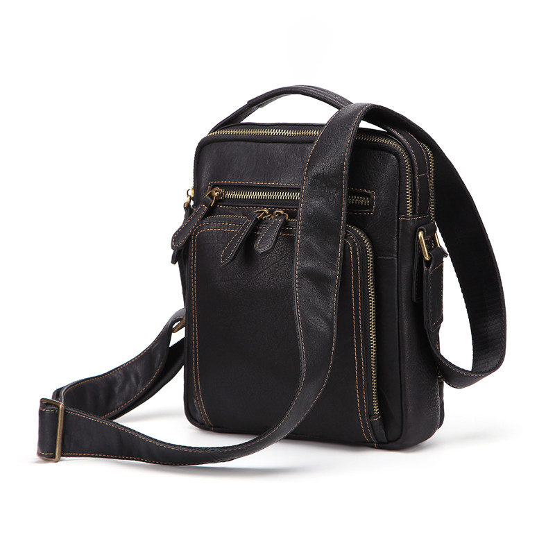Nesitu High Quality Black Real Skin Cow Genuine Leather Cross Body Small Men Messenger Bags Male Shoulder Bag M8152Nesitu High Quality Black Real Skin Cow Genuine Leather Cross Body Small Men Messenger Bags Male Shoulder Bag M8152
