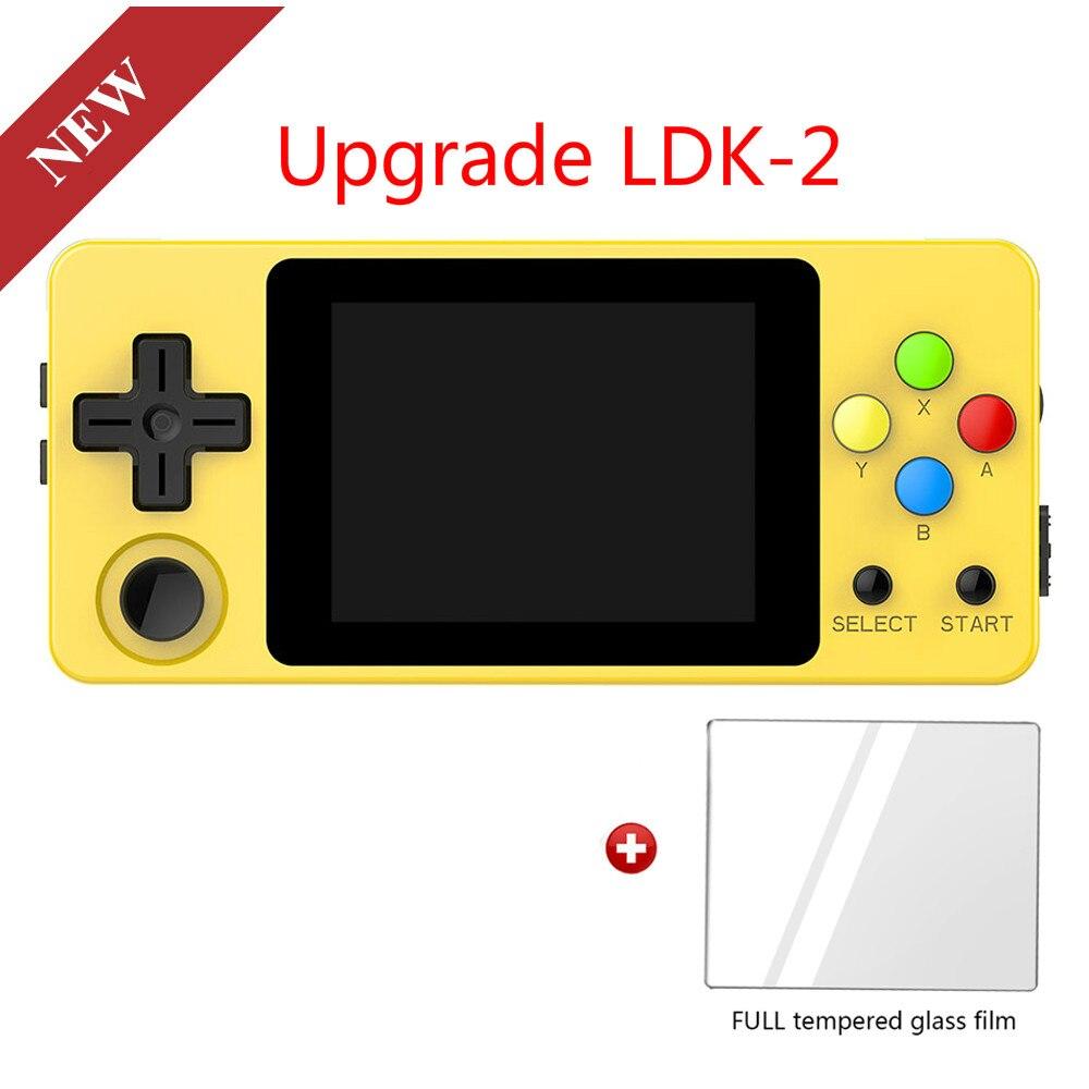 Versão da paisagem do ldk + filme de vidro temperado, tela de 2.6 polegadas mini console de jogo handheld. jogadores do jogo do punho