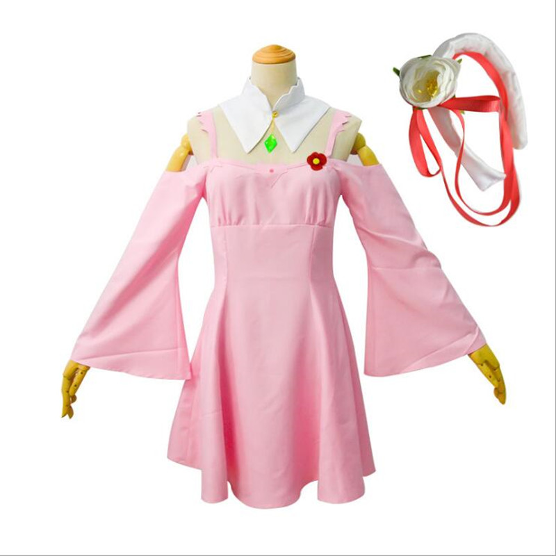 Anime Re:Life in a different world from zero Cosplay Emilia <font><b>Cos</b></font> Sweet Japanese Pink <font><b>Sexy</b></font> Dress Costume For Women image