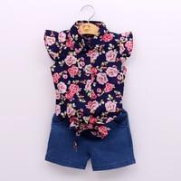 Kids Girls Set 2018 Casual Summer Style Baby Girls Clothing Sets 2 4 6T Flowers Sleeveless