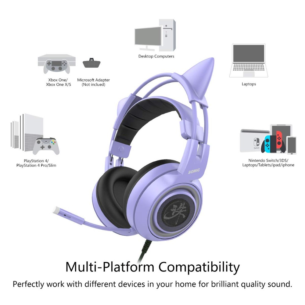 eabaa28bc44 SOMIC G951 Purple Girl Cat Ear Gaming Headphone Chinese Characters Design 3.5mm  Plug Cute Headset for PC Xbox one PS4 Phone Pad