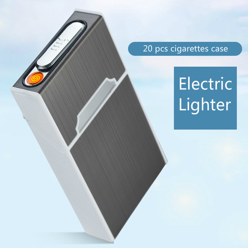 20*5.2mm Aluminum alloy Woman thin Cigarette Case box with Lighter USB charge cigarette lighter 115mm*60mm*21mm