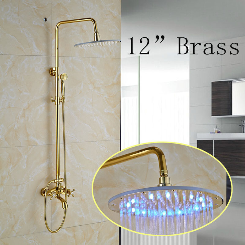 Factory Direct Sale 12 LED Light Brass Shower Head Mixer Taps for Bathroom Gold Finish
