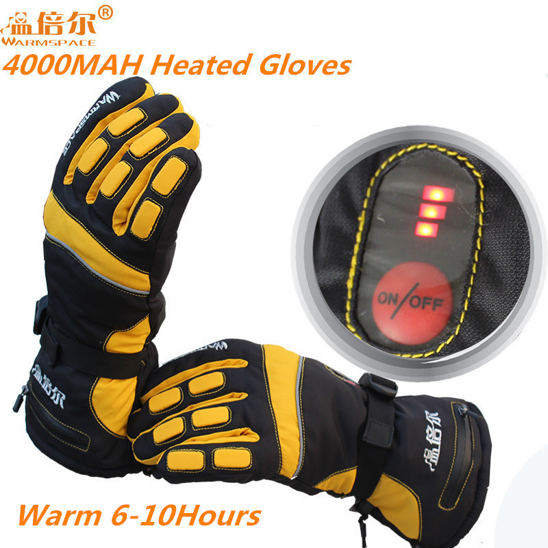WARMSPACE PRO Waterproof Electric Heating Gloves With 3.7V 4000MAH Battery Gloves Whole Hand Warm For Winter Outdoor