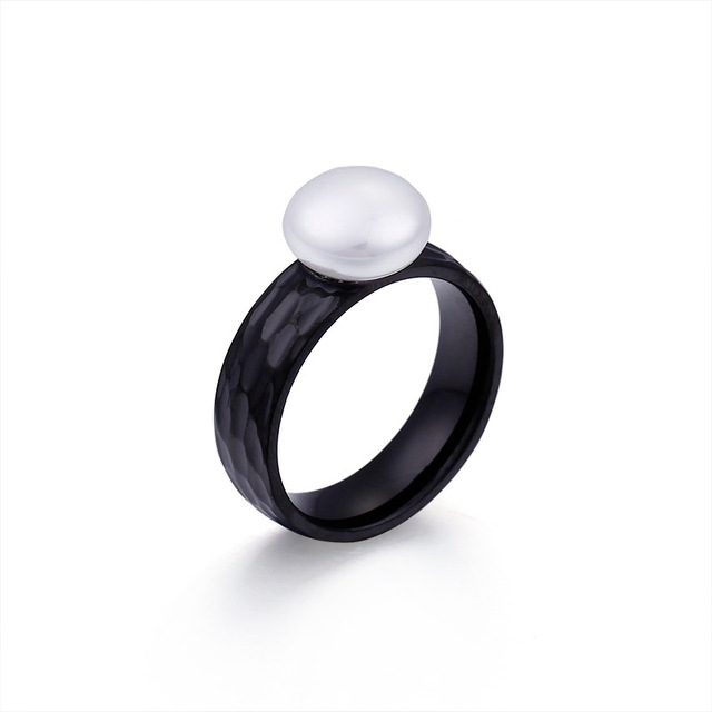 Or/noir/argent couleur acier inoxydable simulé perle anneau bijoux pour femmes luxe mariage/fête fiançailles anneaux accessoires