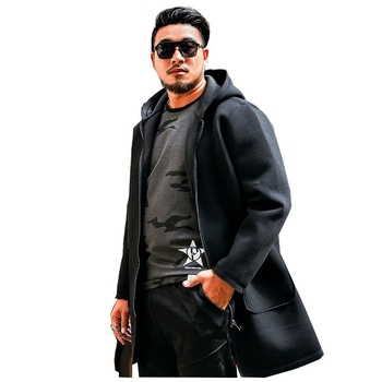 2018 Large size XXL-6XL 7XL Men's Casual Hooded Loose jacket Autumn and Winter Long Paragraph Space Cotton Long jacket